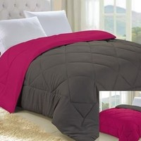 Dark Gray/Pink Reversible Comforter - Twin XL Twin Extra Long