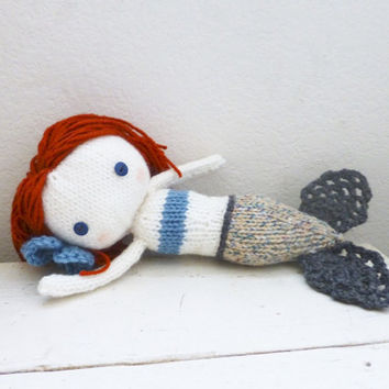 Mermaid stuffed doll, mermaid tail, doll for sale, red hair, gray mermaid fin, ready to ship, hand crochet doll, plush mermaid
