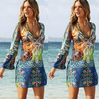 Hot Sale Sexy V-neck Chiffon Beach Skirt [4970293316]