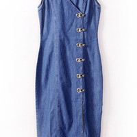 Blue V-Neck Buttons Denim Dress