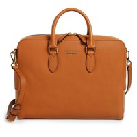 Tan Leather Messenger Briefcase by Burberry
