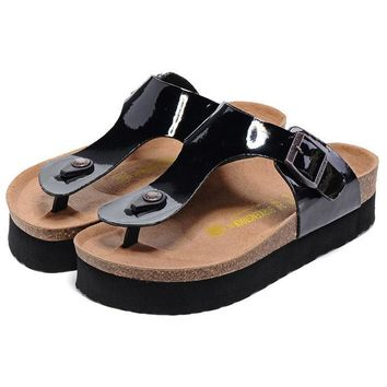 Birkenstock Leather Cork Flats Shoes Women Men Casual Sandals Shoes Soft Footbed Slippers-35