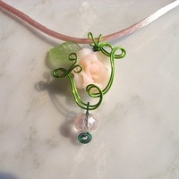 Soft Pink Rose Flower Wire Wrapped necklace