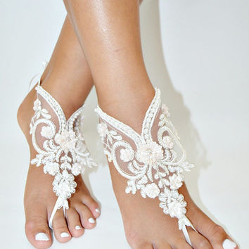 Handmade lace Barefoot anklet, Women's bridal ankle nude shoes, Handmade lace Barefoot sandles, Handicraft wedding barefoot sandals