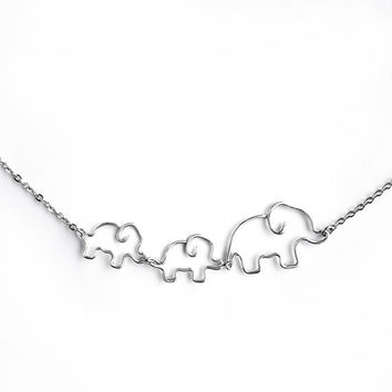 Mom Jewelry - Elephant Necklace or Bracelet, Baby Elephant Jewelry, Mother and Baby Elephants Necklace