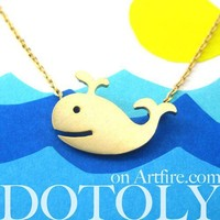 Cute Happy Whale Sea Animal Necklace In Gold - Allergy Free