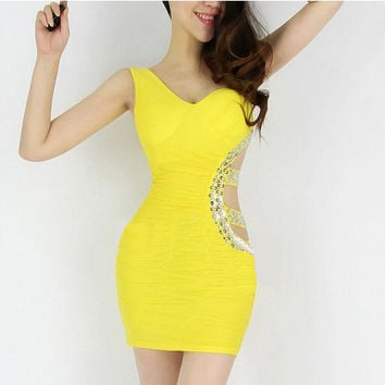 Yellow One Shoulder Sleeveless Side Cut Out Sequined Bodycon Mini Dress