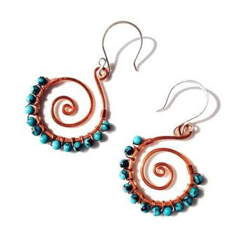 Turquoise spiral wire wrapped and hand formed with copper and sterling silver ear wires