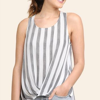 Black Striped Sleeveless Twist Front Top