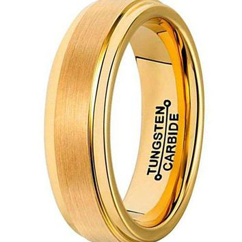 6mm Tungsten Carbide Ring Simple Design Gold Wedding Jewelry Engagement Promise Band