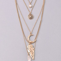 Five Strand Moon, Arrowhead and Crystal Antiqued Layered Necklace - Gold or Silver