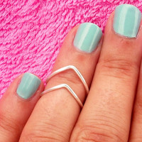 Our Popular 2 Above Knuckle Ring - 2 Chevron Above The Knuckle Ring - Silver Chevron Knuckle Rings - Set of 2 by Tiny Box -