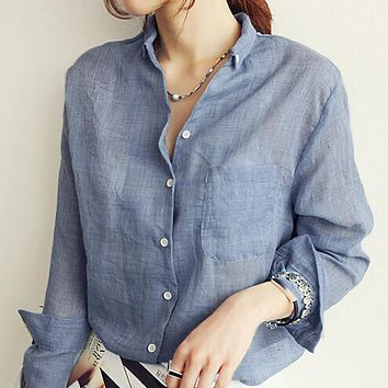 Thin Style Solid Color Women Shirt Long Sleeve Cotton Linen Fashion Women Tops and Blouses Casual Loose Feminine Shirts