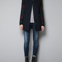 COAT WITH JACQUARD SLEEVES - TRF - New this week - ZARA United States