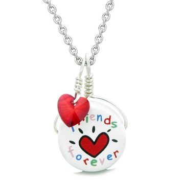 Handcrafted Cute Ceramic Lucky Charm Best Friends Forever Red Heart Amulet Pendant 18 Inch Necklace