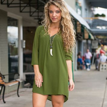 Casual Green Three Fourth Sleeve Chiffon Mini Dress