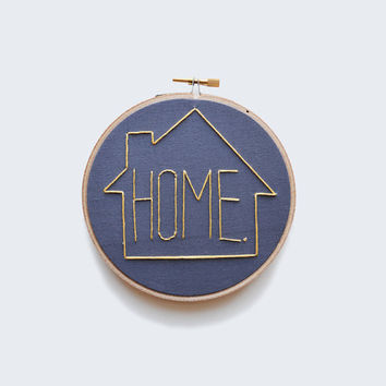 """HOME  - Gray and Yellow 5"""" Embroidery Hoop"""
