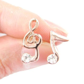 Classic Treble Clef Music Note Shaped Stud Earrings in Rose Gold with Rhinestones