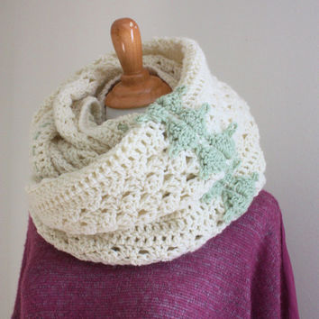 Crochet Mobius Scarf Cream and Sage Knit Wrap chunky neck warmer Large Upcycled Infinity Oversized Winter Shawl Women Boho Scarf SaidoniaEco