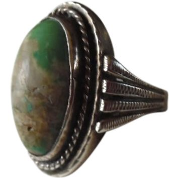 Old Pawn Sterling Turquoise Native American Ring
