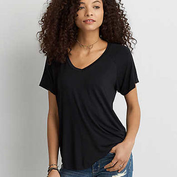 AEO Soft & Sexy V-Neck Favorite T-Shirt , True Black