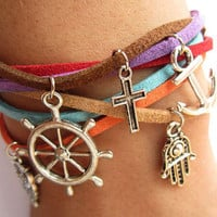 Multilayer colorful world bracelet with anchor ruddr owl hand cross pendant &colorful rope chain