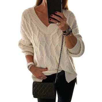 V-Neck Cable Knit Long Sleeve Women Sweater