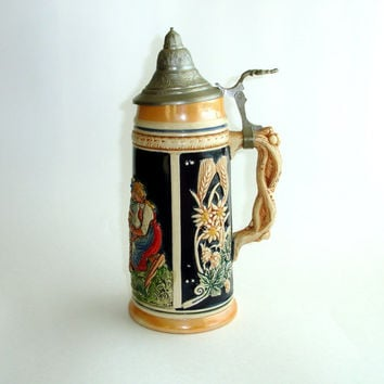 Large Vintage Lidded Beer Stein, Western Germany, 1 Litre Liter Bier Tankard, Pewter Lid, Collectible Ceramic Beer Mug, Octoberfest Barware