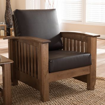 Baxton Studio Charlotte Modern Classic Mission Style Walnut Brown Wood and Dark Brown Faux Leather 1-Seater Lounge Chair Set of 1