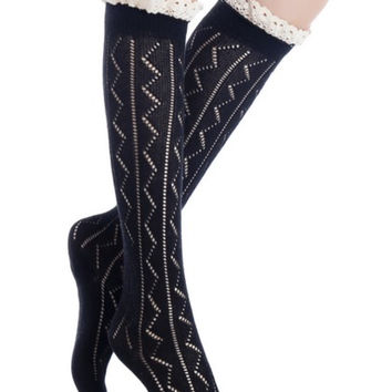Knee High Knit Boot Socks w/Crochet Lace