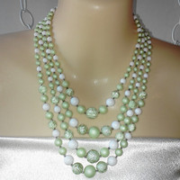 MINT 4 Strand Glittery Pale Green with Gold Swirls Japanese Sugar Beads and White Graduated Beads Necklace Vintage Made in Japan Fancy Beads