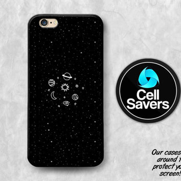 Space Sketch iPhone 6s Case iPhone 7 Plus iPhone 6 Plus iPhone 6s Plus iPhone 5c iPhone 5 iPhone SE Case Planets Stars Moon Sun Black White
