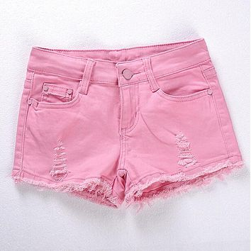 Spring and Summer Women's Fashion Casual Skinny Denim Shorts Pink Black White Hole Ripped Low-waist Sexy Short Super shorts