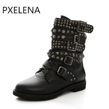 PXELENA Hot Winter Womens Round Toe Lace Up Rivet Low Heels Buckle Military Combat Motocycle Riding Ankle Boots Shoes Plus Size