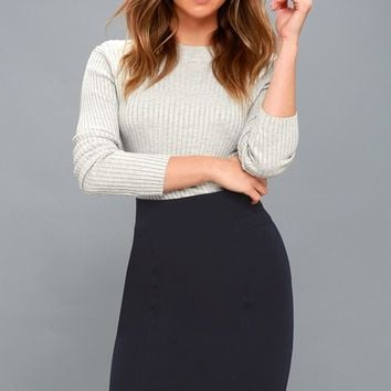 Quincy Navy Blue Pencil Skirt