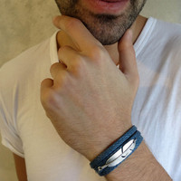 Men's Bracelet - Men's Feather Bracelet - Men's Blue Bracelet - Men's Jewelry - Bracelets For Men - Jewelry For Men - Gift for Him