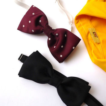 Retro Bowties Set of 2 Red polka dot bowtie Black Bowtie  Elastic band Vintage  tie Mens Suit accessorie