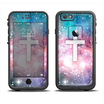 The Vector White Cross v2 over Colorful Neon Space Nebula Apple iPhone 6 LifeProof Fre Case Skin Set