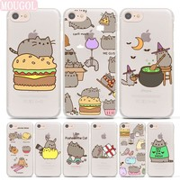 MOUGOL Hot Sale cute funny lovely Pusheen Cat hard Transparent clear Case Cover for Apple iPhone 7 6 6s Plus SE 5 5s