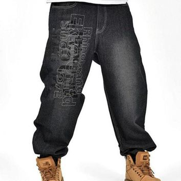 MDIG9GW Men's Black Baggy Jeans Hip Hop Designer Brand Skateboard Pants loose Style Plus Size 30-46 True HipHop Rap Jeans Boy Trousers