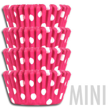 Mini Bright Pink Polka Dot Baking Cups