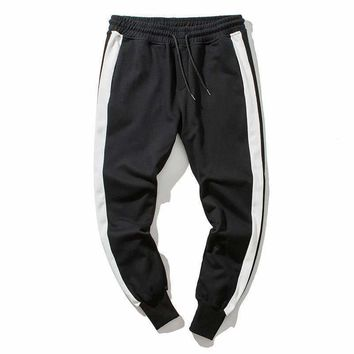 #1647 2018 Elastic waist trousers Track pants men Joggers Sweatpants Side stripe Pantalon hombre Hip hp pants men Streetwear 4XL