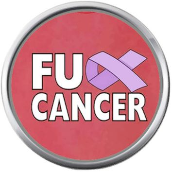 FU Cancer Purple Ribbon Survivor Hope For All Support Cure By Awareness 18MM - 20MM Snap Jewelry Charm