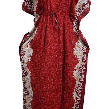 Womens Kaftan Dress Red Floral Printed Kimono Cotton Caftan House Dresses XXXL