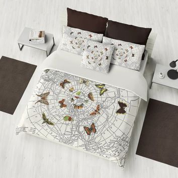 Butterfly Effect Duvet Cover or Comforter,  duvet or comforter, brown, beige,  unique beautiful, bedroom decor