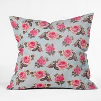 Allyson Johnson Pink Roses Throw Pillow