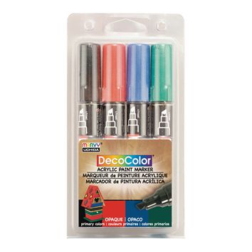 MARVY UCHIDA DECOLOR ACRYLIC PAINT MARKER SET/4 PRIMARY Other 1 - Does not contain composite wood 4 Pack