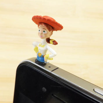Cool Jessie The Yodelling Cowgirl Dust Plug 3.5mm Smart Phone Dust Stopper Earphone Cap Dustproof Plug Charms for iPhone 4 4S 5 HTC Samsung