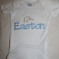 BABY BODYSUIT, BABY DIAPER SHIRT, ONE PIECE DUCK DUCKS  CHOOSE NAME AND COLORS
