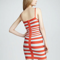 Livobu Bandage Safron Combo Stripe Dress Orange,Livobu.com - Like it,Love it,Buy it!